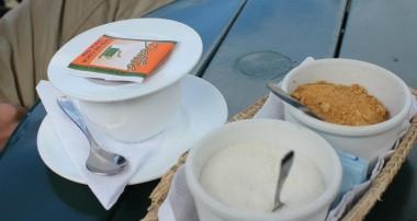 Drinking coca tea in Quito, Ecuador.