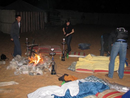 Our open-air campsite in Dubai.  Horseflies and all.  Camping in the desert.