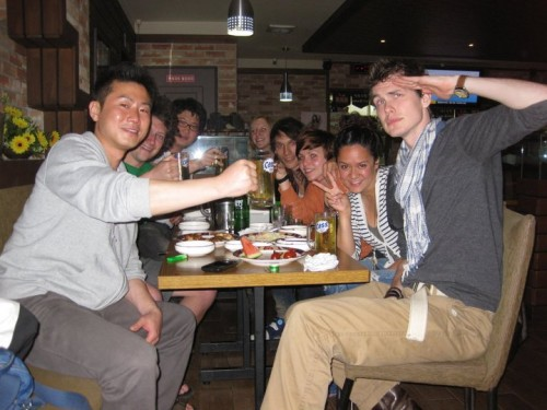 Drinking with friends in South Korea