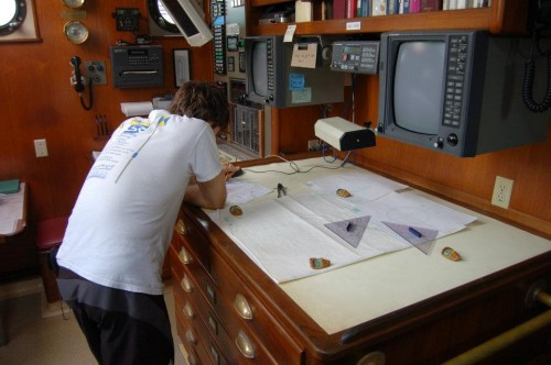 Taking charge of plotting the ship's course, using only a sextant.