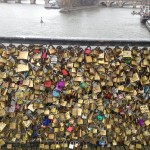 Love lock bridge in Paris France