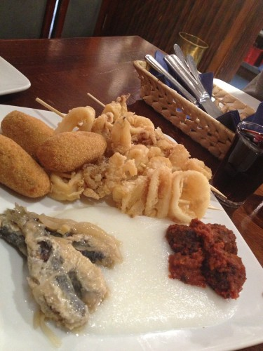 Our second sample included various sea food dishes.