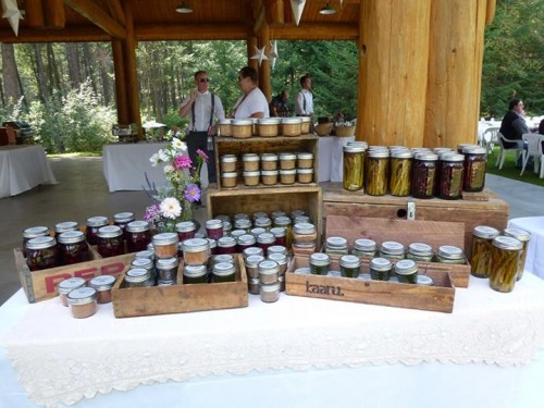 Home made canned goods as wedding favors
