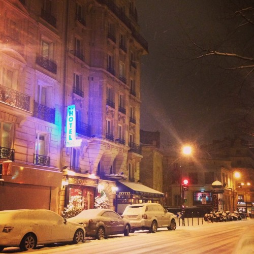 Even though you booked our flight a day early and we arrived in Paris during a snow storm... with no place to stay.