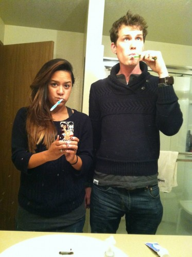 We brushed our teeth