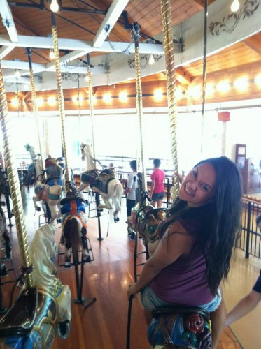 We rode on one of the world's oldest carrousels and you got the ring in the goal