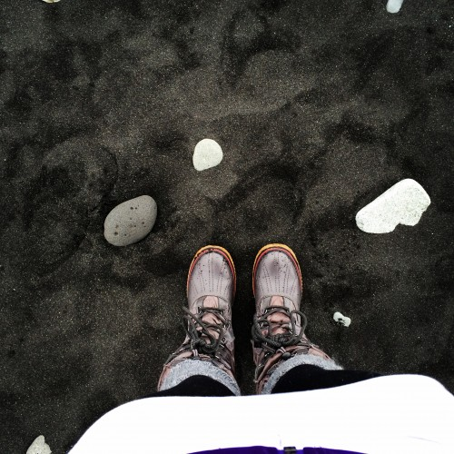 We explored black sand beaches