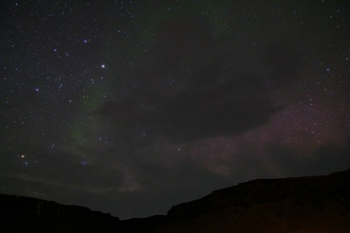 The small glimpse we got of the elusive Northern Lights.