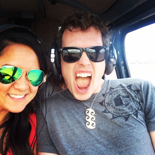 All smiles before our helicopter ride over Maui and Moloka'i