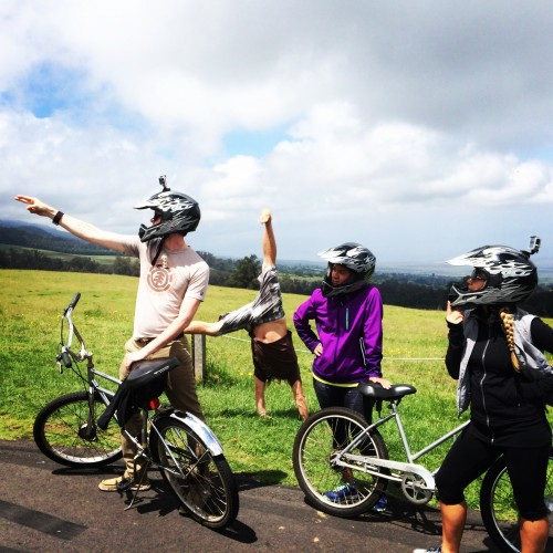 Getting our kicks by cycling down Haleakala volcano with ****