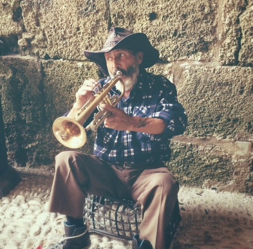 Trumpet player on Rhodes island, Greece