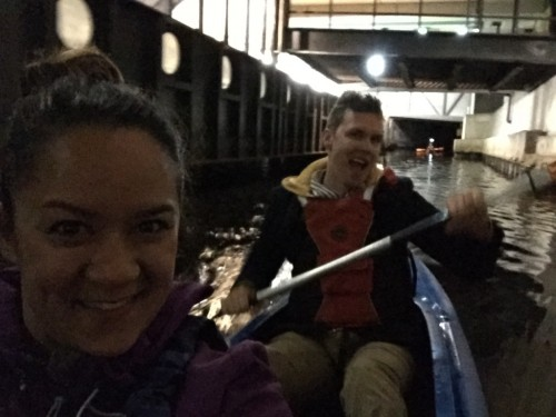 Night kayaking in Riga