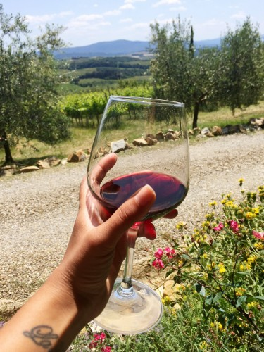 wine tasting at an organic farm in Tuscany Italy