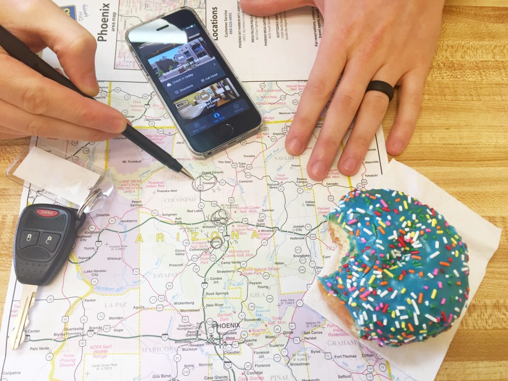 Mapping out our road trip through Arizona